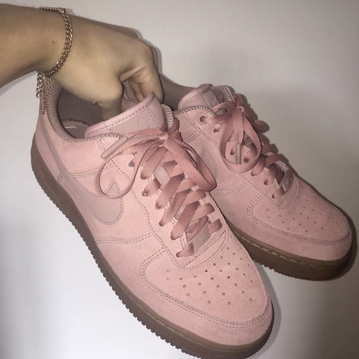 Nike Air Force 1s in dusty pink / gum
