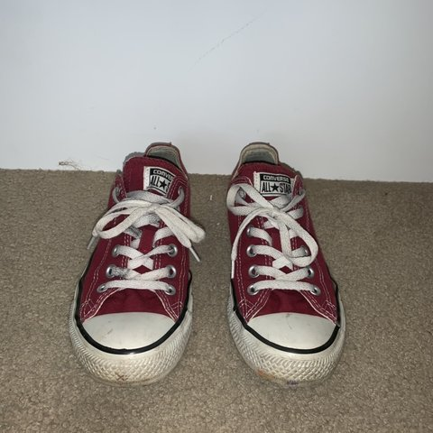 4c96e584e799 Women's maroon low top converse Size 8 Good condition, just - Depop