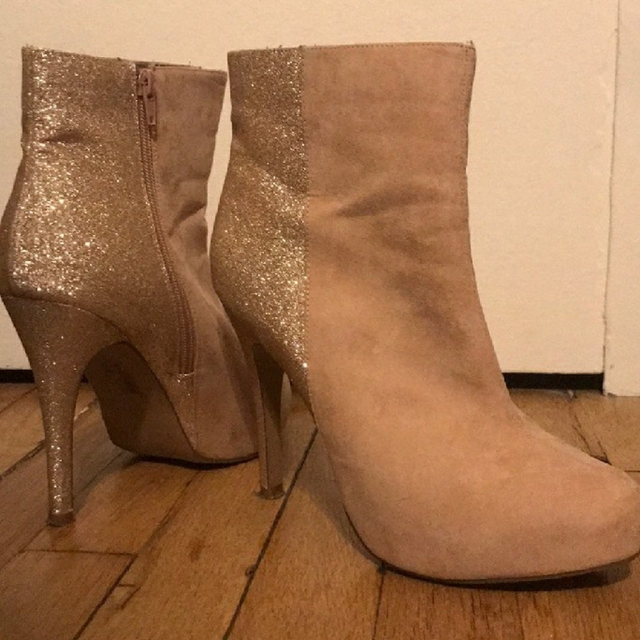 a70c3ed15ac Holiday glitz blush front faux suede and glitter back boots. - Depop