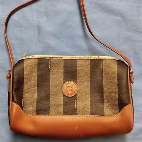 c14492cabe00 Vintage Fendi Striped Canvas Shoulder Crossbody Bag Brown - Depop