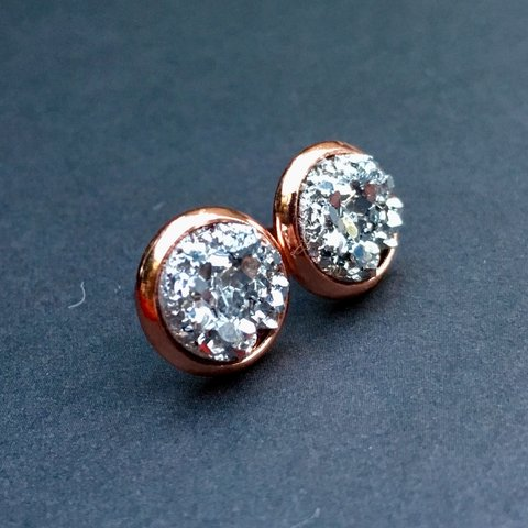 7363aab99 @sticksnstonesbykat. 7 months ago. Carpinteria, United States. Rose Gold  Small 8mm druzy studs, silver faux druzy, handmade posts earrings