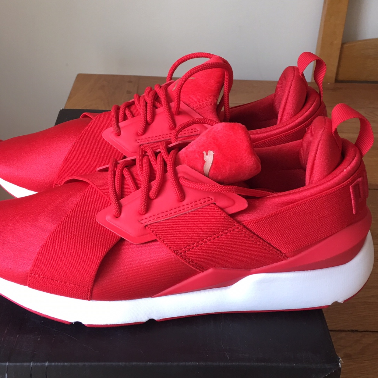 Puma Muse Satin Ignite Trainers Red UK 7 New Was £77... - Depop