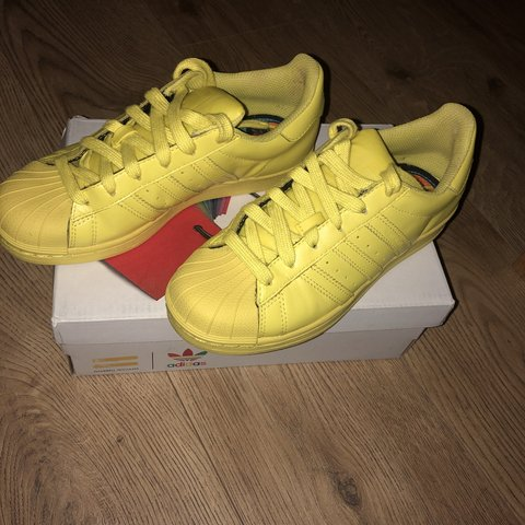 fa66cd8fc Pharrell Williams yellow Adidas Superstar trainers. Hardly a - Depop