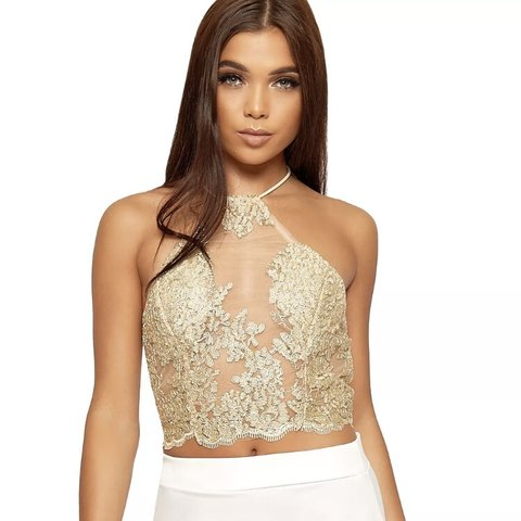 0f3e915c3694e7 Gold sequin sheer mesh halter neck crop top. Will for an - Depop
