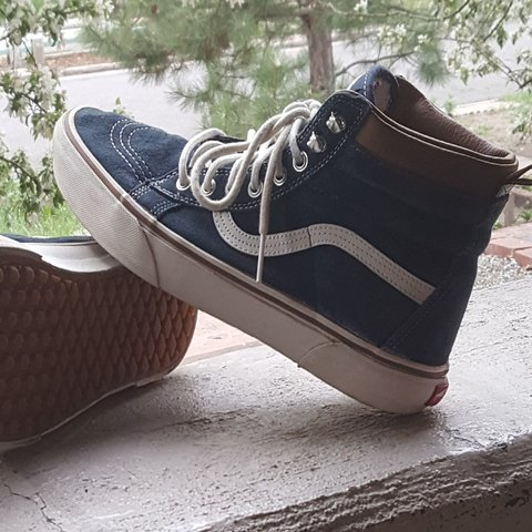 a87ed9a8e6 Vans Sk8-Hi MTE Blue Suede with Brown Leather