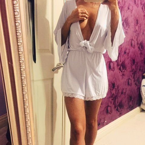 fb81a410890 White kimono style playsuit from Boohoo