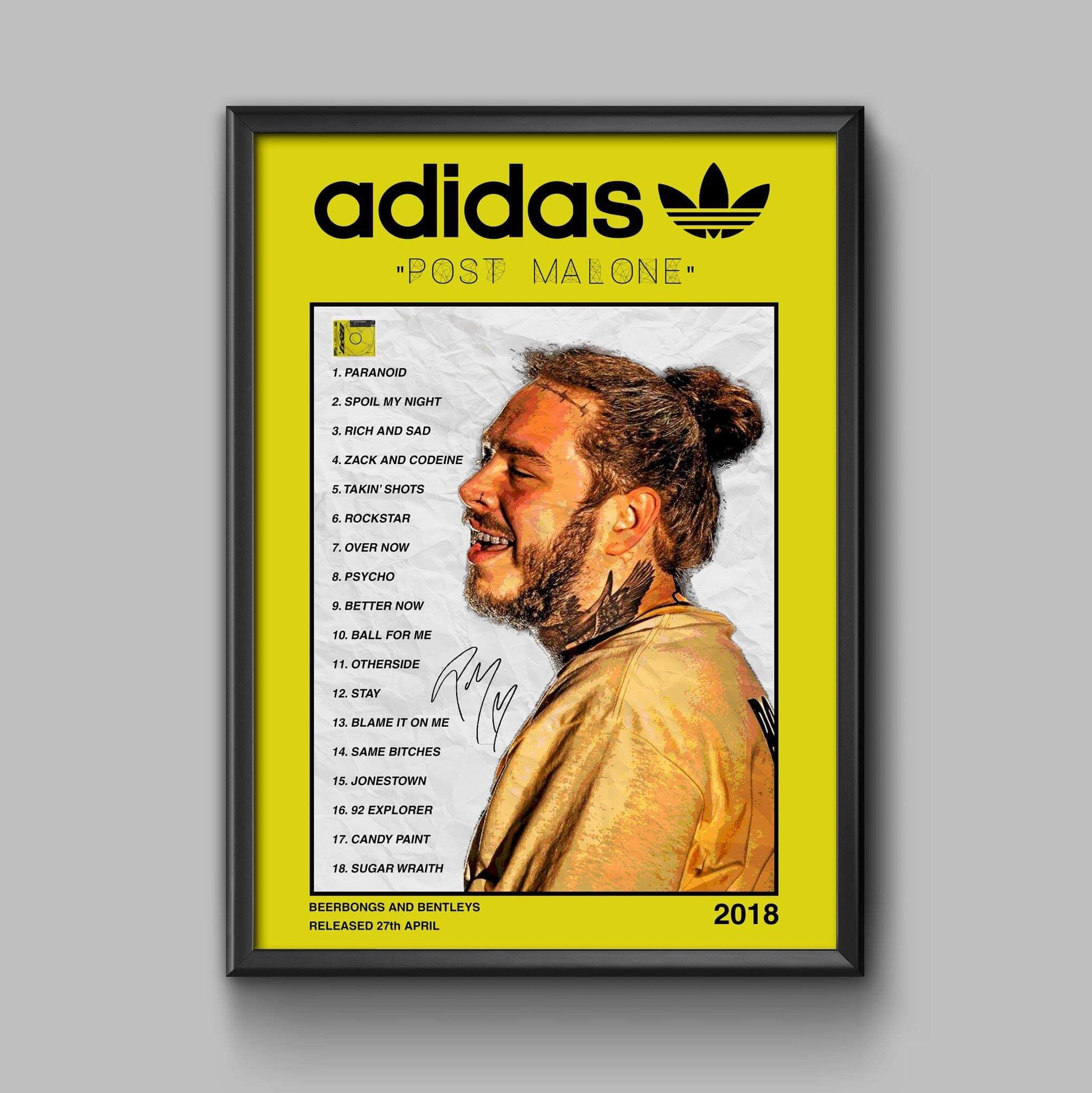 A4 FRAMED PRINT // Adidas x Post Malone - Beerbongs