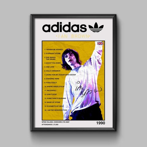 46700fa41f7 A4 FRAMED PRINT    Adidas x The Stone Roses - Ian Brown at - Depop