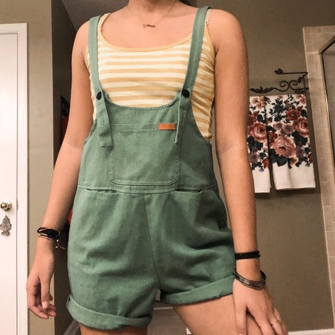 6f124ac4f97b Princess Polly Green Overall Dungarees Never worn Super cute - Depop