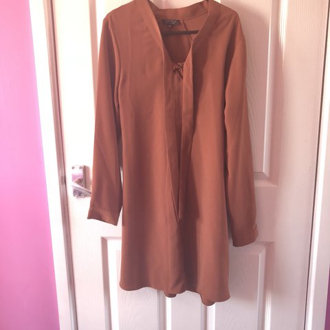 55c4057ebd4eb6 Topshop Burnt Orange Shirt Dress. Bought for £32 I think and - Depop