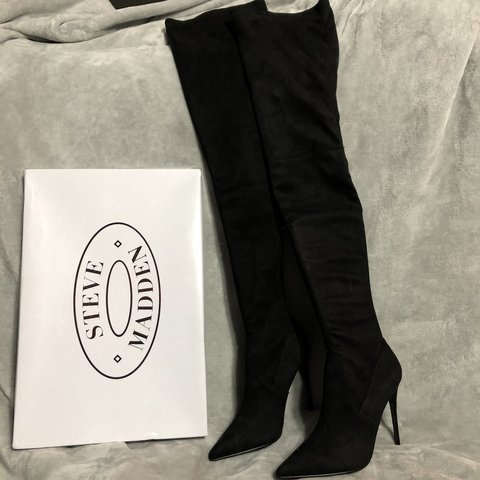 c1307f57d21 Steve Madden DOMINIQUE thigh high boots - Black - BRAND NEW- - Depop