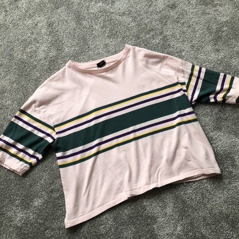 36f8070048 urban outfitters baby pink with green, yellow & purple rugby - Depop