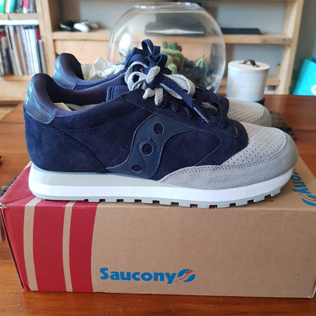 buy online c237c 9e37b Saucony Jazz O Lux Premium in a navy and grey suede ...