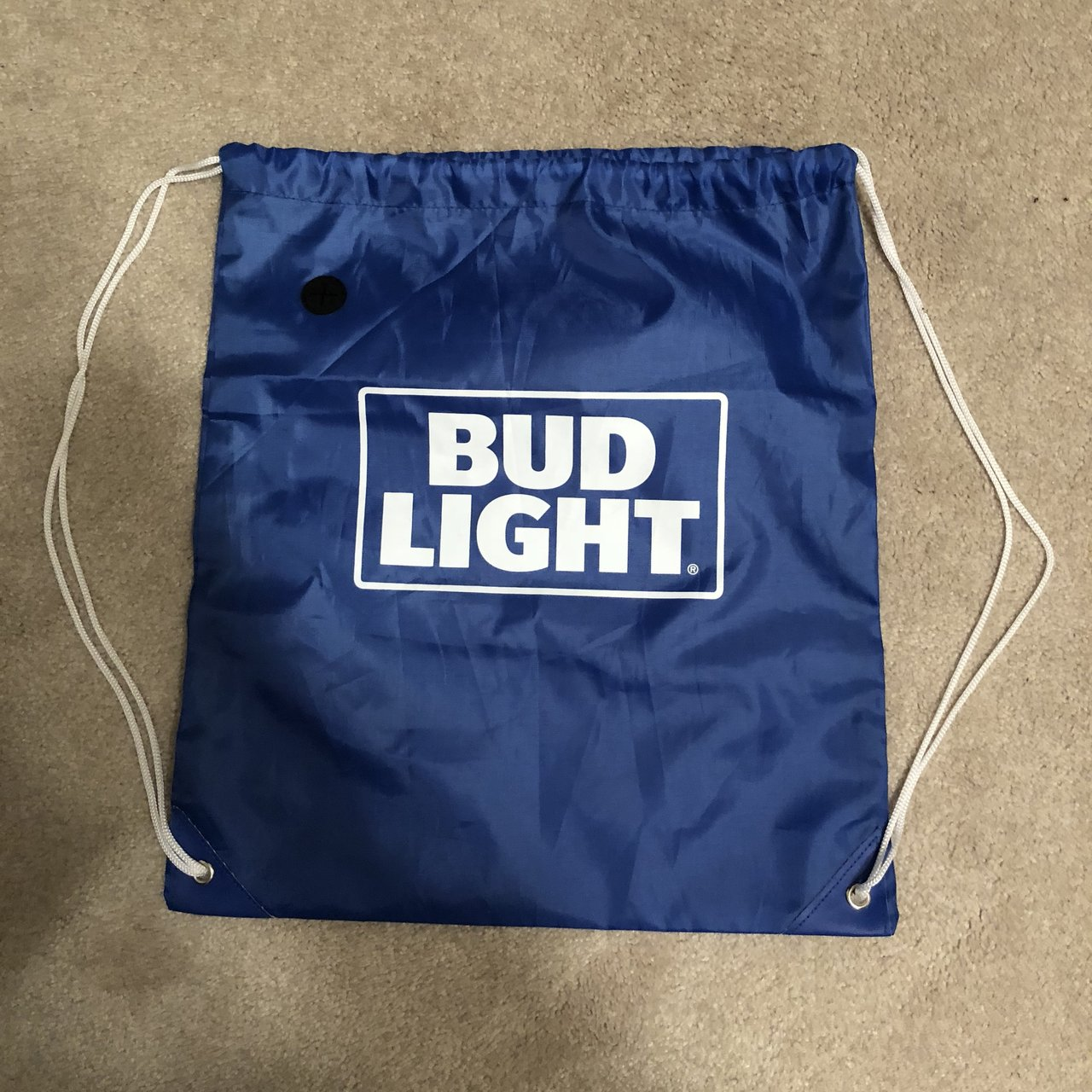 Bud Light Drawstring Bag Has Zipper Pocket Facing Your Back Depop