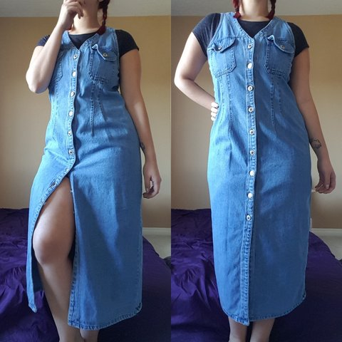 3ebfcf7007c Amazing 90s vintage denim jean maxi dress. Perfect for any a - Depop