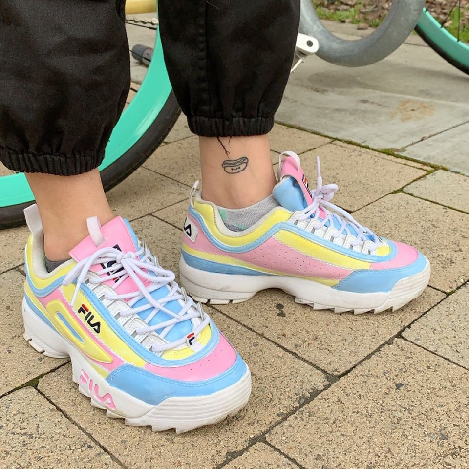 Hand painted pastel Fila shoes. They are lightly worn Depop