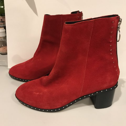 27fdfa0e18ffa TOPSHOP RED SUEDE MIRANDA BOOTS SIZE 5 Brand new with labels - Depop