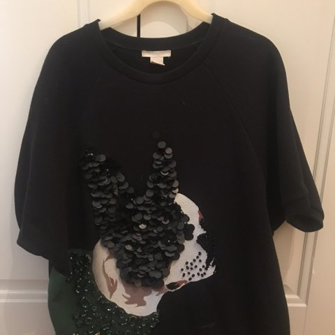 7be2159f1 French Bulldog Sequin and Embellished jumper size 8-10 - Depop