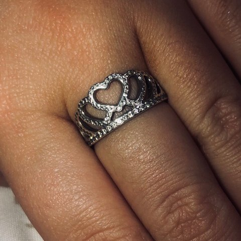 6cb1d4235 @shand97x. 13 days ago. Manchester, United Kingdom. genuine PANDORA silver  hearts princess tiara crown ring ...