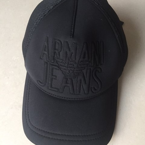a7f44421ba5 Armani Jeans Baseball Cap with mesh back in black. Used a - Depop