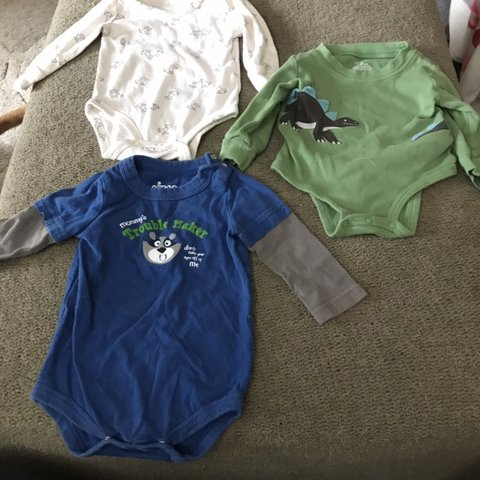 9870b1460 Adorable trio of baby boy bodysuits, size 6 months. All in - Depop