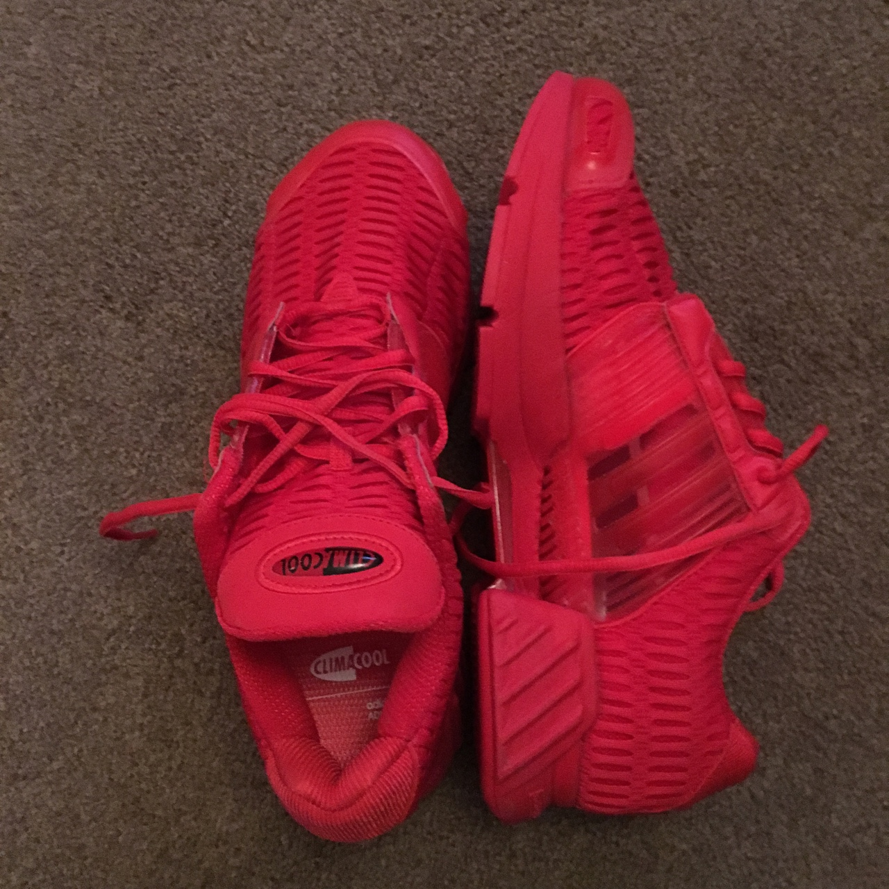 Red Adidas Climacool trainers., Size 10. Excellent...