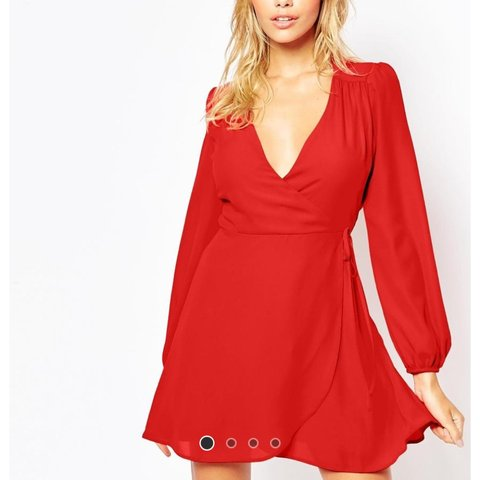 e1b597884f6 Red Wrap Dress from Asos. Bought for £25.00. New with tags - Depop