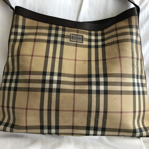 Burberry Vintage Canvas Shoulder Bag with Leather Handles - Depop e515c567d66a0