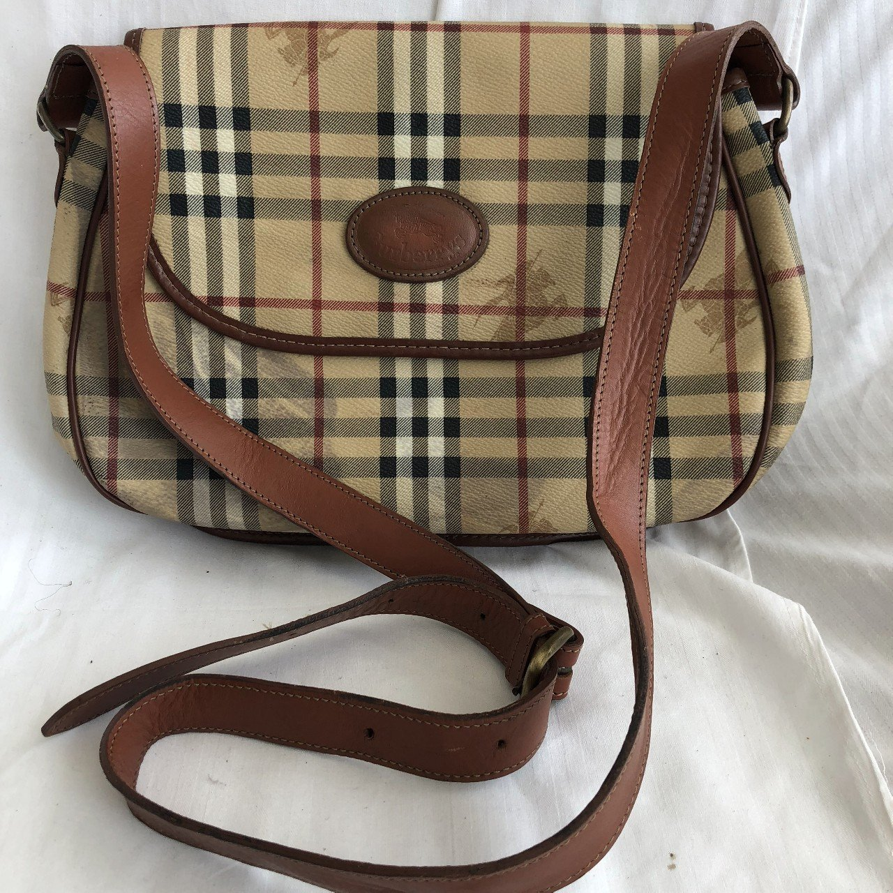 Burberry Vintage Canvas Crossbody Bag with Leather Handles - Depop 323bfcec4657f