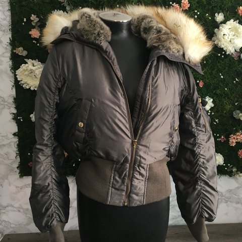 aa7cb6ad627c BABY PHAT 🌻 Military dark green and gold faux fur jacket