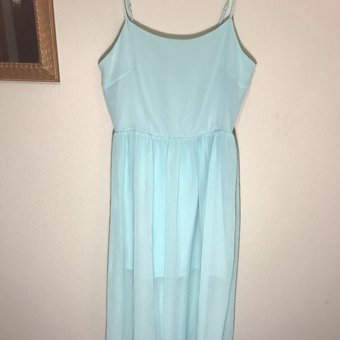 5fb8950b8e @aunicacampbell. 7 months ago. Anchorage, United States. Light blue/teal  sheer maxi dress | Great condition | Brand: Forever 21 | Size S