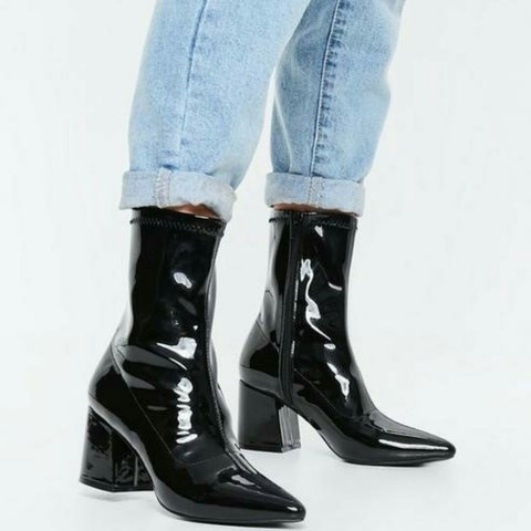 acca654780d3 Missguided black patent mid heel sock boot - size 7 pair of - Depop