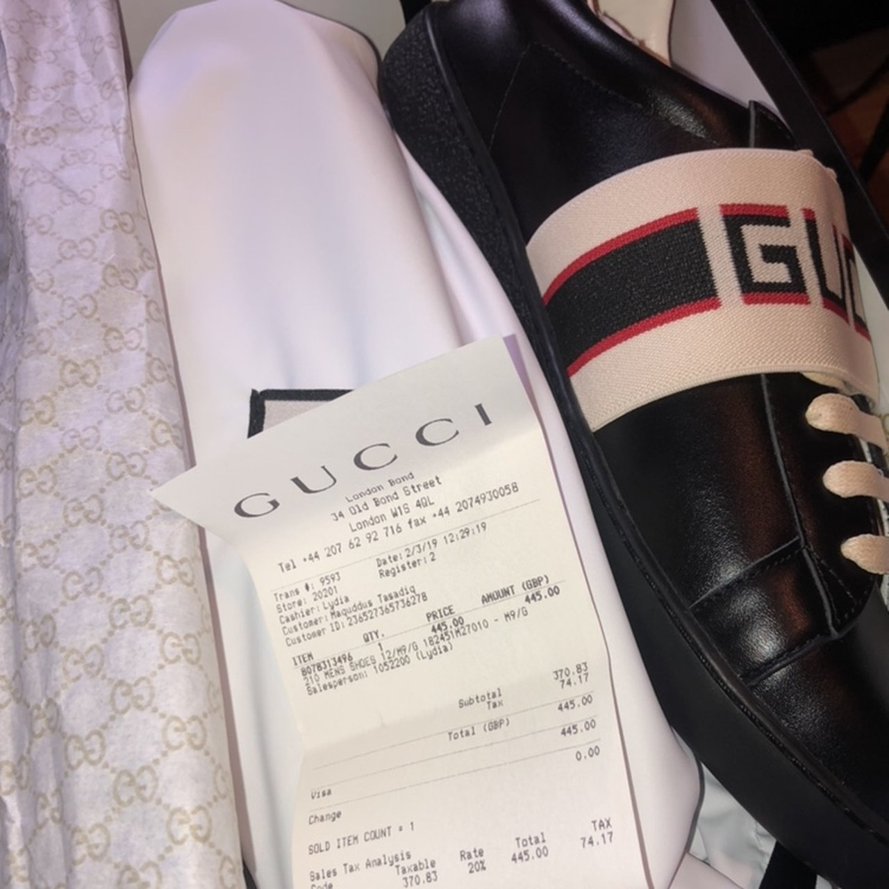 Gucci Sneakers comes with receipt, box