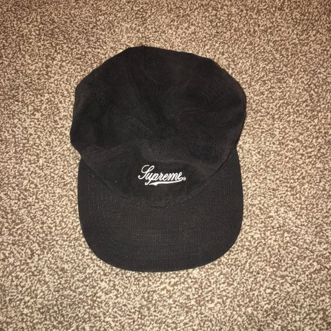 Black corduroy Supreme hat Size M Mint condition - Depop af12dad34f7b