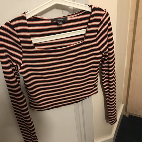 d57136f3dc3b Primark red/orange/white/navy/black striped long sleeve crop - Depop