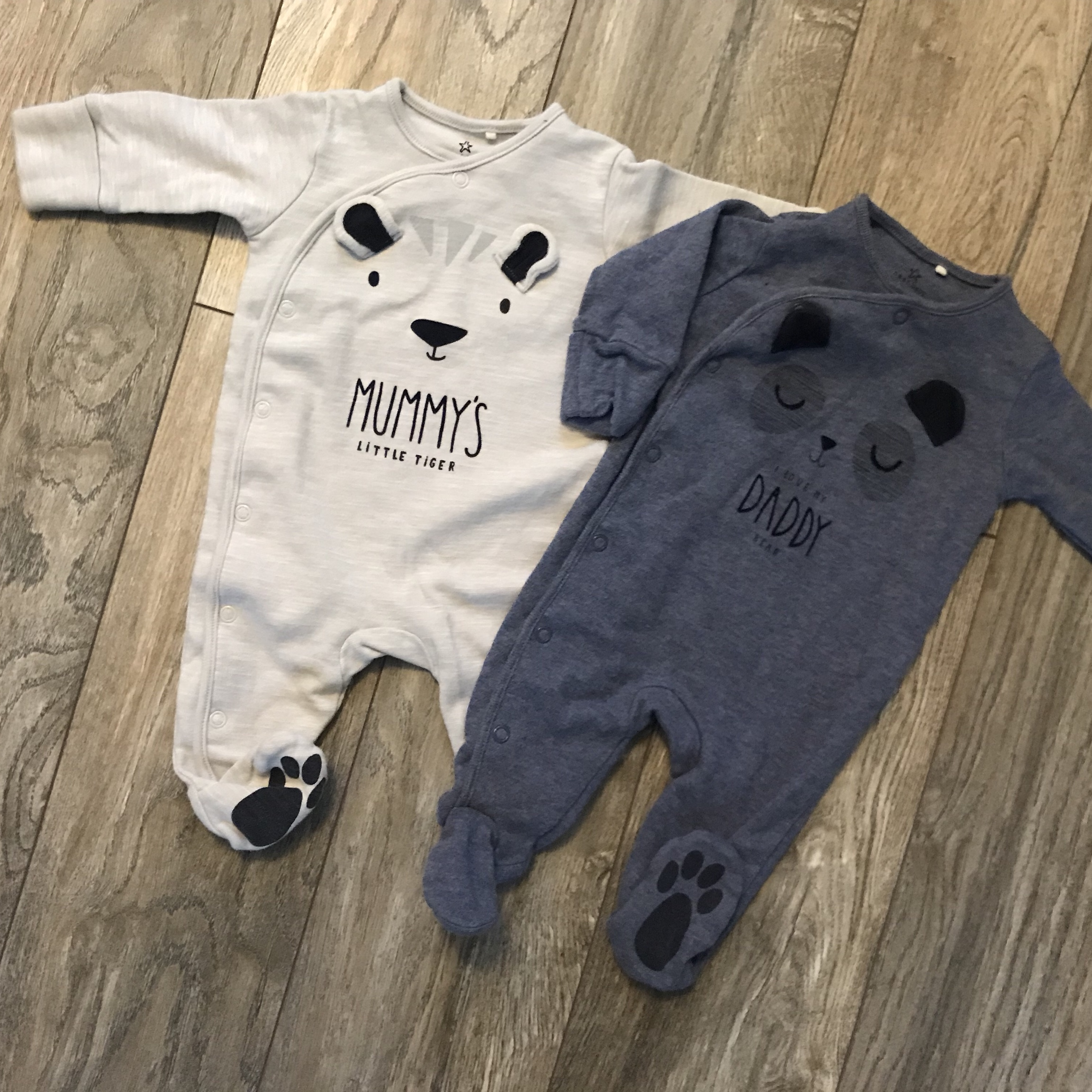 NEXT 2 Gorgeous MUMMY and DADDY Sleepsuits Up to 1 Month NWT