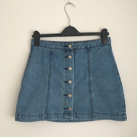 c2049c05f1 @pheebsmith. 6 months ago. Alcester, United Kingdom. Boohoo light denim  button up skirt / size 10 ...