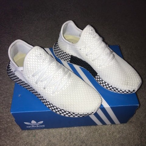 847496bbdbc28 Adidas Deerupt Runners in All White upper and black and 8 in - Depop