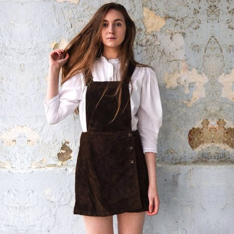 c4d5fd952915 @frolickingwithclementine. 4 years ago. Newcastle upon Tyne, Tyne and Wear,  UK. Native Suede Dungarees - Brown suede mini skirt ...