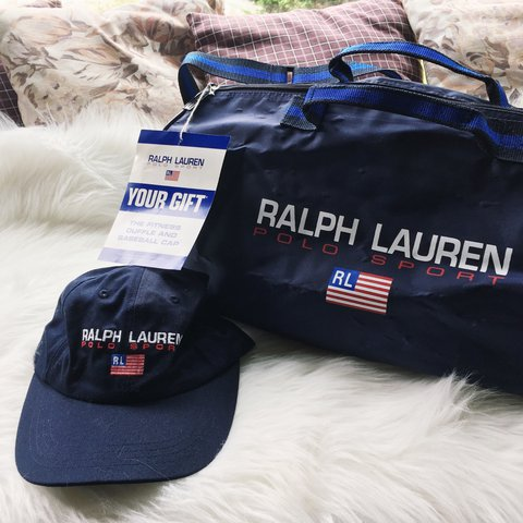 Vintage Ralph Lauren Polo Sport Navy Blue Spell Out Gym Bag - Depop f2c48b324654