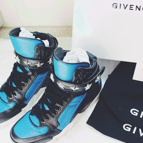 de5e68f896a4 Authentic Givenchy Tyson blue and black high top sneakers in - Depop