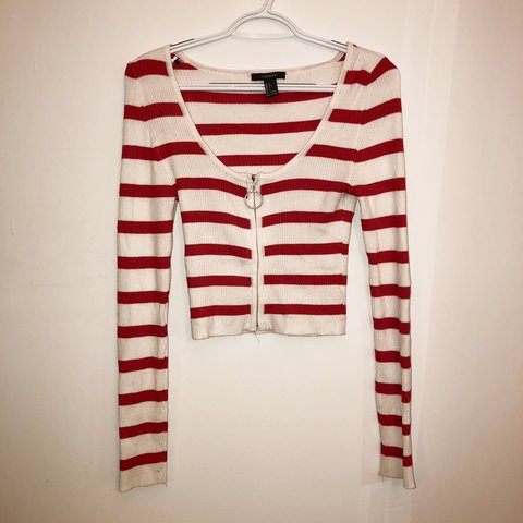 d0299f822e @presleywolf. 5 months ago. Toms River, United States. Red and white  striped semi crop long sleeved shirt ...