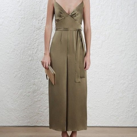 1abdc878e9 ZIMMERMAN NEW WITH TAGS SILK SUEDE TUCK JUMPSUIT - OLIVE - Depop