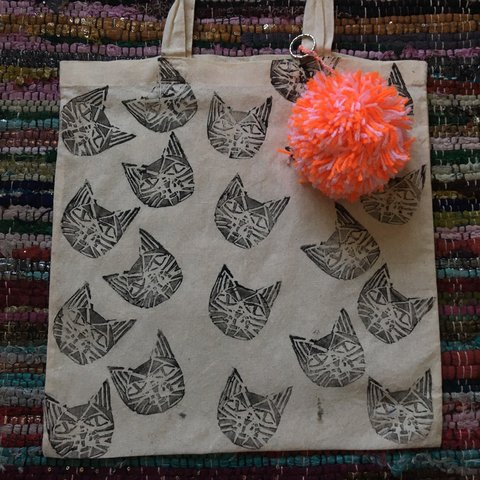 181c85a84 Hand made Lino print multiple Aztec cat head tote for and a - Depop