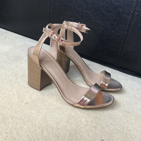 fa6f6449cc0 New Look rose gold heeled sandals. BRAND NEW. Never been - Depop