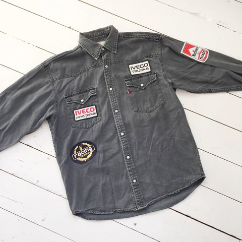 858bc3b637e A badass vintage Levis 90s Patched Up Black Denim Shirt - - Depop