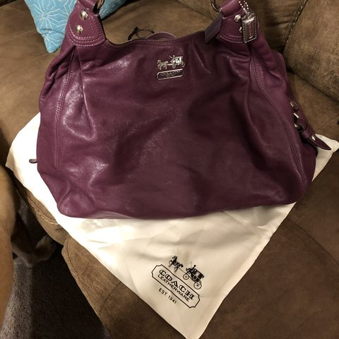 0409404958e01 BRAND NEW purple leather coach purse. Paid  350. - Depop