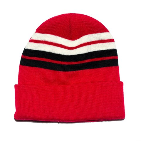 cd9737f4b66ca Red with black and white stripes beanie brand new - Depop