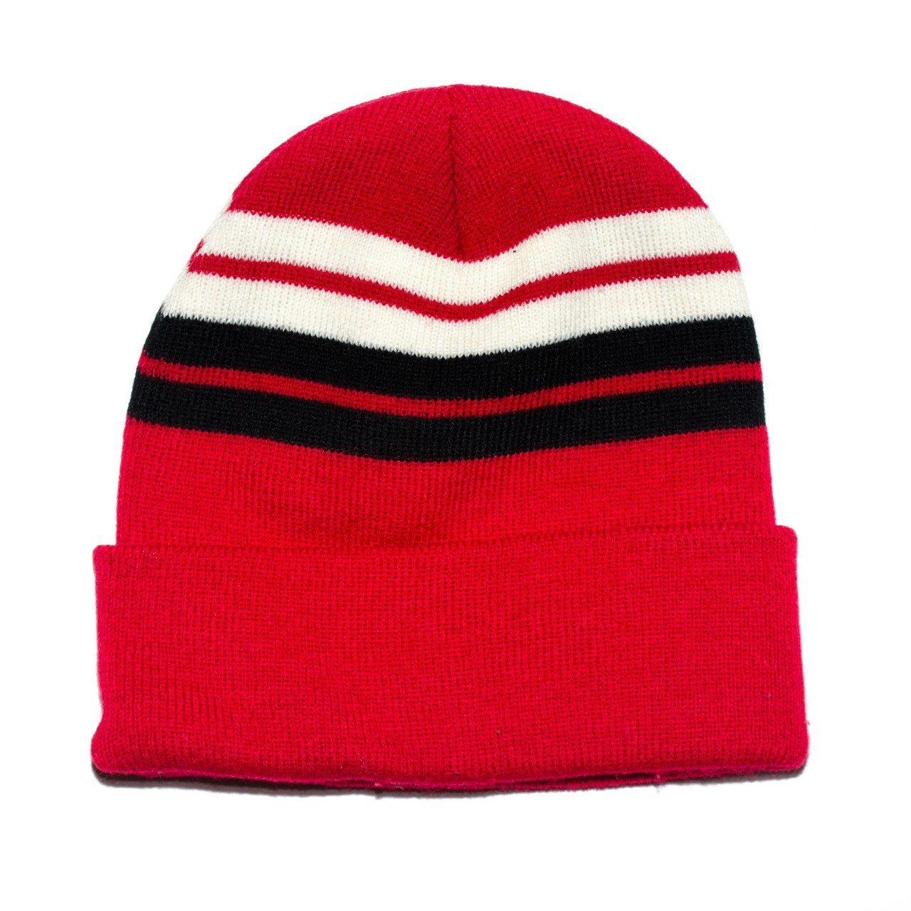 Red with black and white stripes beanie brand new - Depop 7b2335237fe