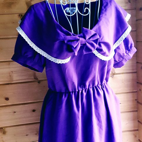 cd4dbe75a0e Size M Vintage Dress Purple fabric Collar with lace edge and - Depop